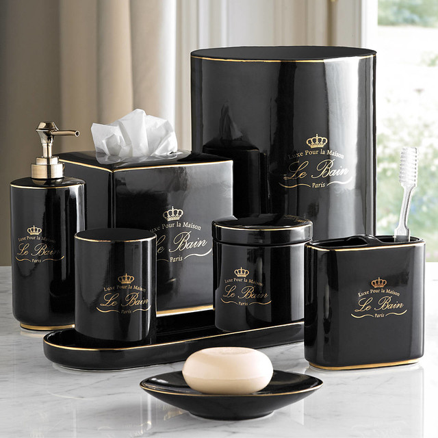 Le Bain Black & Gold Porcelain Bathroom Accessories - Eclectic - Bathroom Accessories - Other - by The Gentle Bath & Company