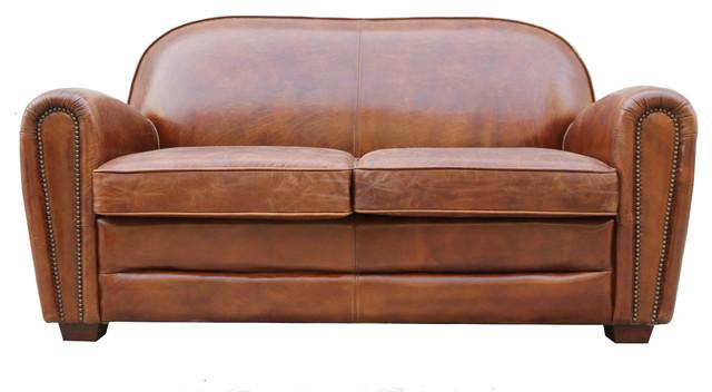 Charmant Pasargad Paris Club Genuine Leather Loveseat Tufted Sofa