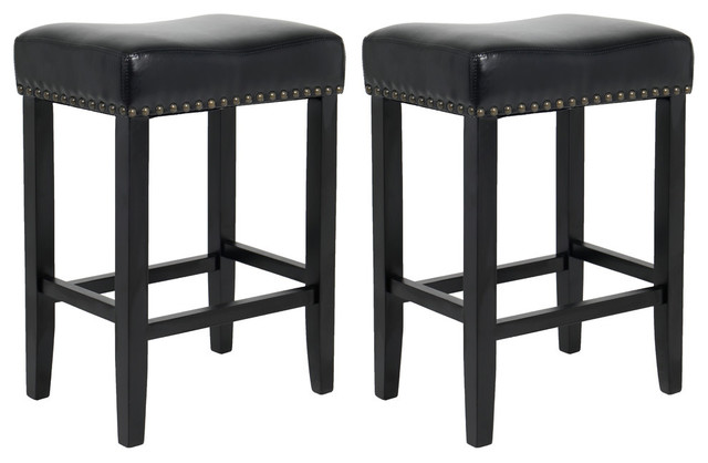 Beau Wooden Leather Upholstered Bar Stool, Bronze Nail Trim Barstool Set Of 2    Transitional   Bar Stools And Counter Stools   By BTExpert