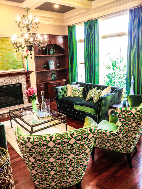 Brilliant Color in a Transitional Home transitional-living-room
