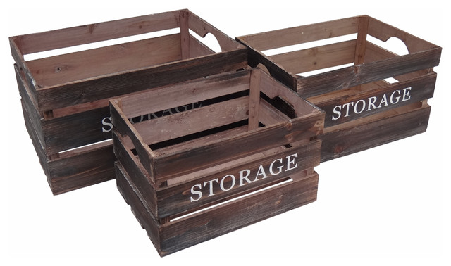 "Wood ""storage"" Crates, Set Of 3"
