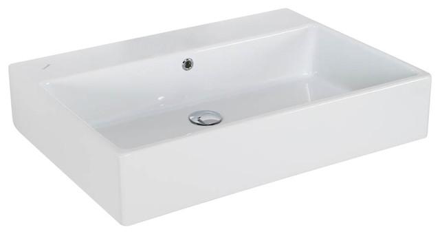 Simple 70a Ada Wall Mounted Vessel Bathroom Sink In Ceramic White