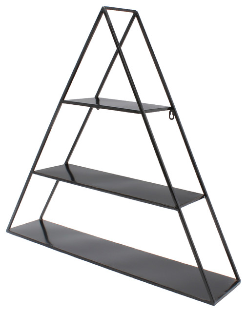 Tildan 3 tier triangle floating metal wall shelf black modern display and wall shelves by - Wall metal shelf ...