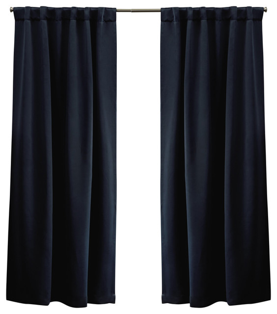 Sateen Blackout Hidden Tab Window Curtain Panel Pair, 52x96, Peacoat Blue.