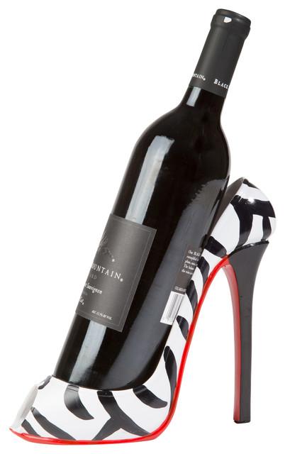 Zebra Print High Heel Wine Bottle Holder Eclectic Racks By Trademark Innovations