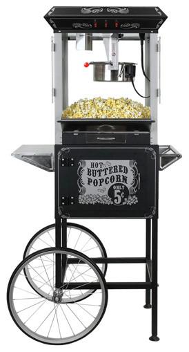 Funtime 8 Oz Premium Vintage Popcorn Popper Machine Maker Cart, Black