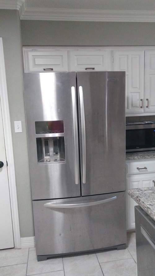 small kitchen refrigerator. Should We Center The Fridge And Build 2 Narrower Cabinets On Each Side? Do Keep Box Top Of Cabinet? Small Kitchen Refrigerator