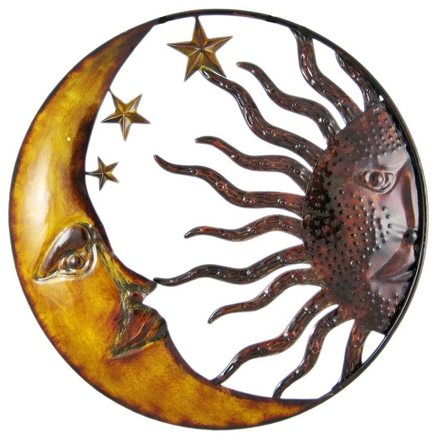 Traditional Wall Art celestial hand painted sun moon metal art wall hanging
