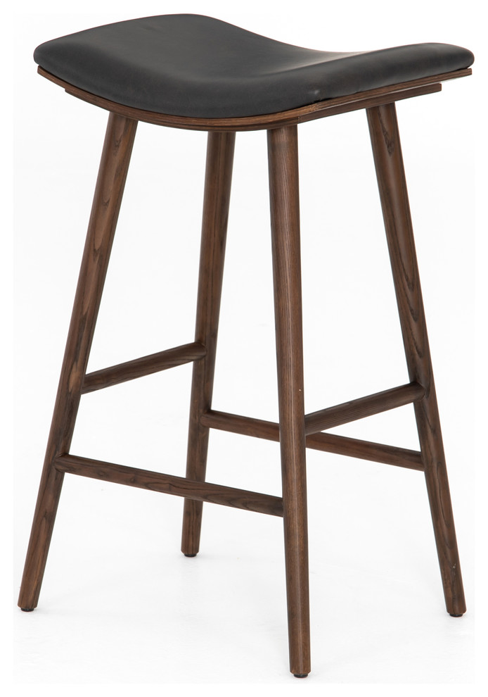 30 Tall Set Of 2 Saddle Bar Stool Distressed Black Ash Wood Frame Faux Leather Midcentury Bar Stools And Counter Stools By Noble Origins Home