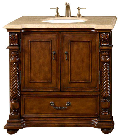 "Willoughby Single Sink Bathroom Vanity, Travertine Top, 57"" traditional- bathroom-vanities"