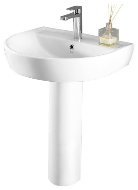 Round White Ceramic Pedestal Sink Contemporary