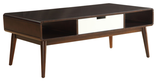Acme Christa Coffee Table Espresso And White Midcentury Coffee
