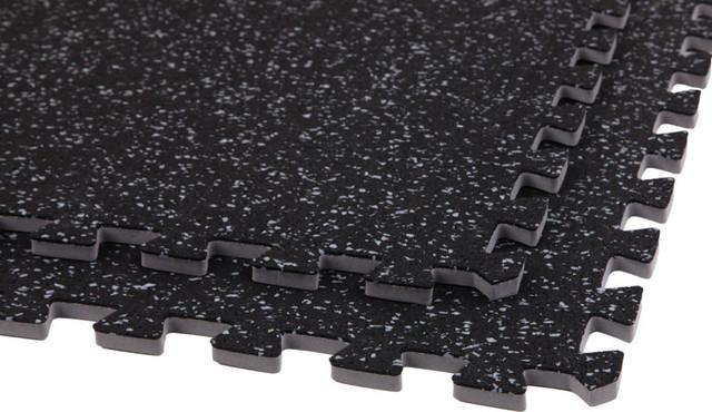 Soft Rubber Gym Flooring Foam Tiles Black Gray 3 8 Thick Sample
