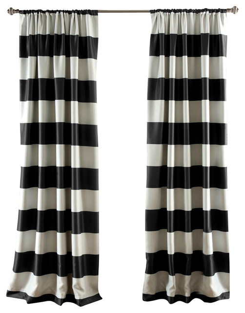 Stripe Blackout Window Panel Contemporary Curtains