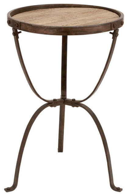 Eureka Metal And Wood Side Table Modern Outdoor Side Tables