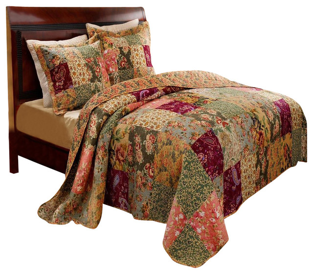 Greenland Home Antique Chic Bedspread Set 3 Piece Full