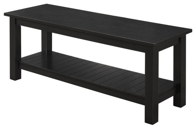 Excellent Walker Edison 50 Country Style Entry Bench With Slatted Shelf Black Andrewgaddart Wooden Chair Designs For Living Room Andrewgaddartcom