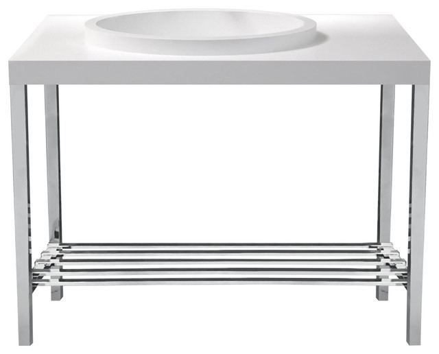 Metro Matte White Stone Basin Vanity Stand Offset Integrated Oval Sink, Chrome.