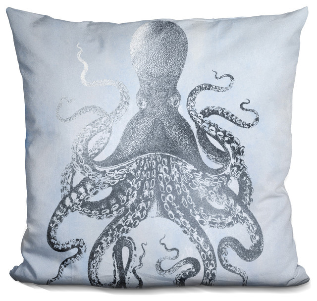 Silver Foil Octopus Ii On Blue Wash Decorative Accent Throw Pillow