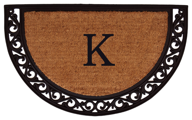 Ornate Scroll Monogram Doormat 2&x27;x3&x27;, Letter K.