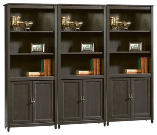 Sauder Edge Water Library Wall Bookcase In Estate Black Traditional Bookcases By Homesquare