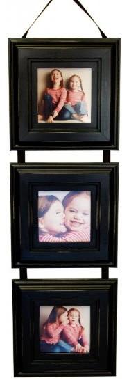 Triple Frame Set Black Three 5x5 Frames With Hanging Ribbon