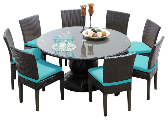 Pluto 60 Outdoor Dining Table With Chairs 9 Piece Set Tropical Ou