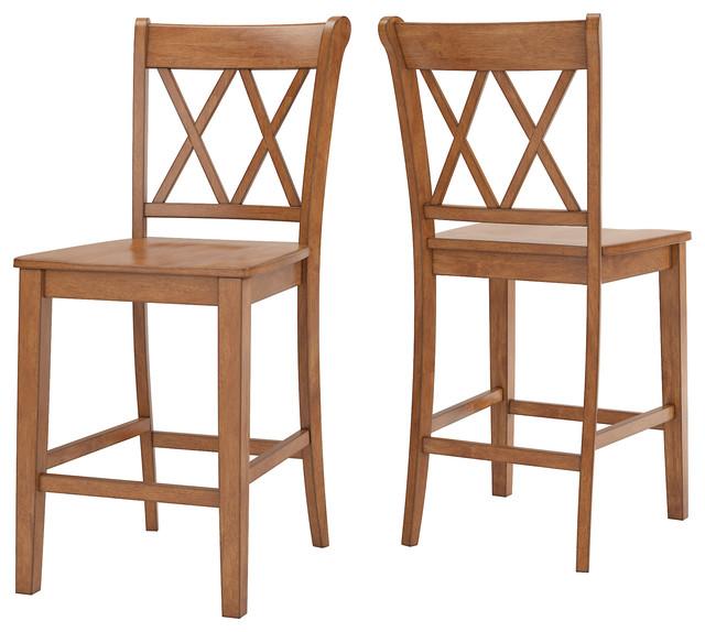 Enjoyable Arbor Hill X Back Counter Chair Set Of 2 Oak Creativecarmelina Interior Chair Design Creativecarmelinacom
