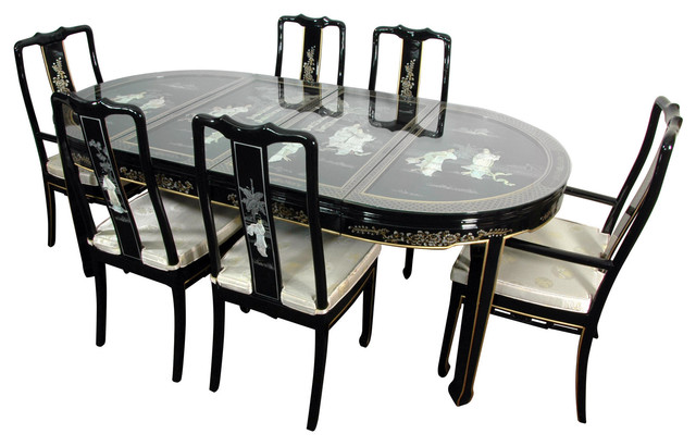 Oriental Furniture - Lacquer 7-Piece Dining Room Set, Black Mother ...