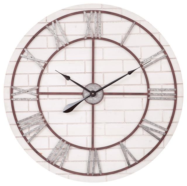 Patton Decor 32 Rustic Whitewash Wood Metal Clock