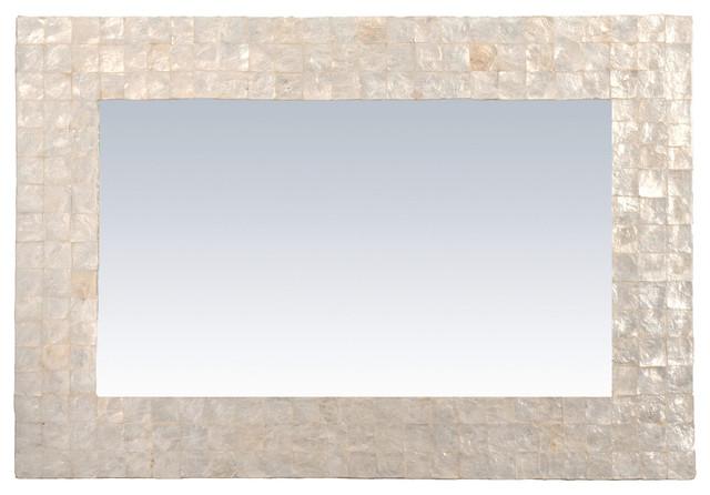 Noora Natural Shell Wall Mirror, Rectangular.