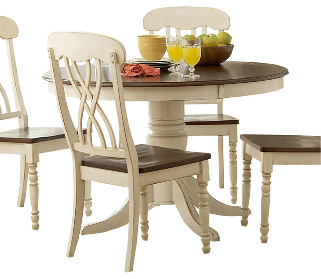 Homelegance Ohana 5 Piece Round Dining Room Set In White Cherry