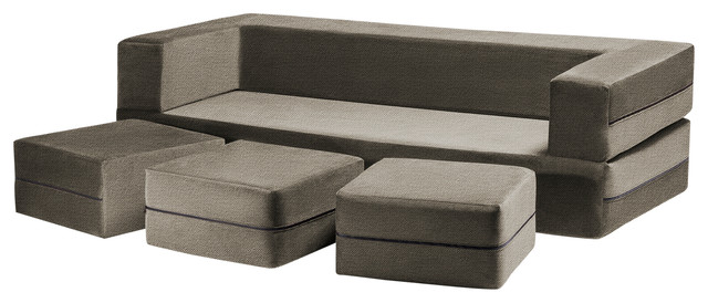 Superieur Zipline Convertible Sofa Bed And Ottomans With Washable Cover, 4 Piece Set,  Moch