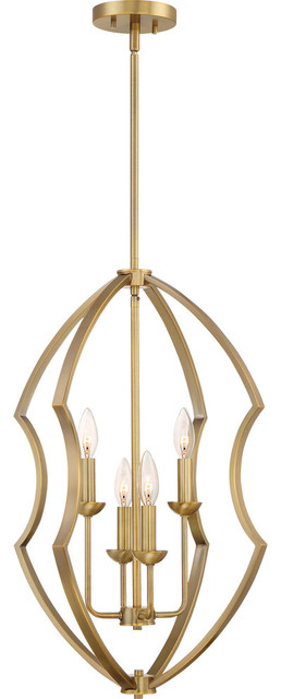 Stately Chandelier, Antique Brass.
