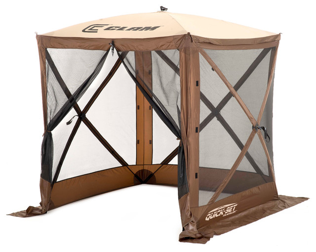 Traveler Screen Shelter,brown/tan Roof/black Mesh,  W/ Wind Panel Flaps.