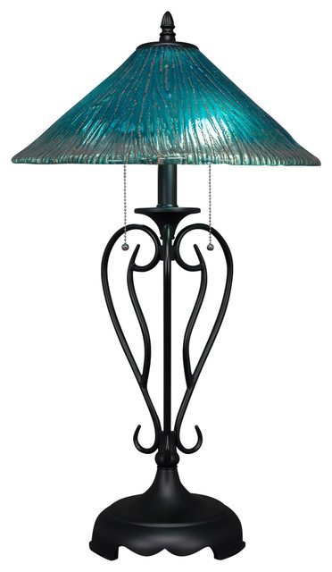 """Olde Iron Table Lamp In Matte Black, 16"""" Teal Crystal Glass."""