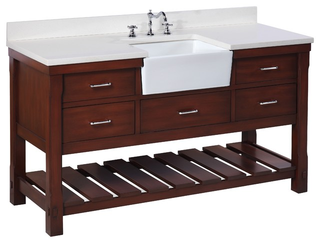 "Charlotte Bathroom Vanity, Chocolate, 60"", Quartz Top, Single Sink"
