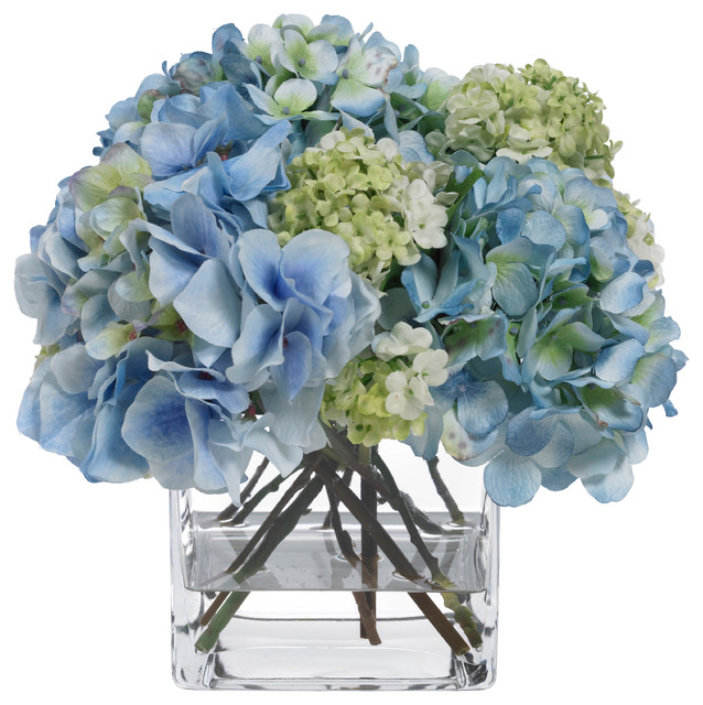 blooms blue hydrangea and snowball bouquet  contemporary, Natural flower