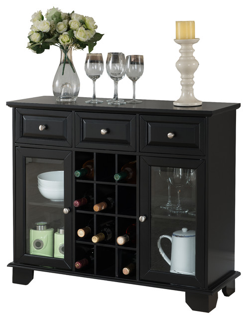 Buffet Server Sideboard Cabinet with Wine Storage, Black Finish ...