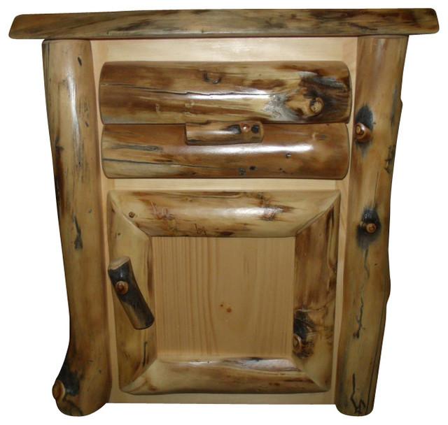 Rustic Aspen Log Nightstand One Drawer Door