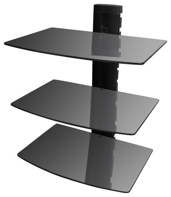 Vidaxl 3-Tier Wall Mounted Glass Dvd Shelf, Black.