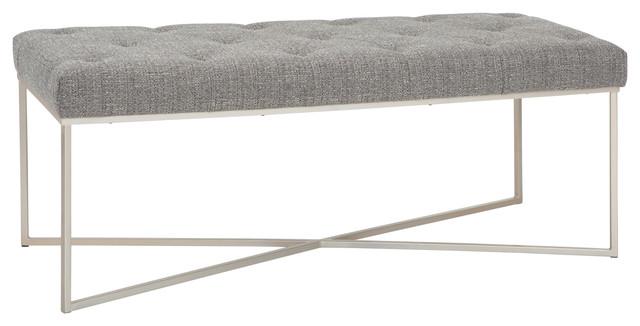 """Maddox 48"""" Modern Contemporary Ottoman Bench, Granite Woven Fabric"""