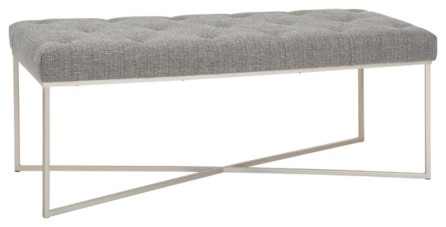 Surprising Maddox 48 Modern Contemporary Ottoman Bench Granite Woven Fabric Inzonedesignstudio Interior Chair Design Inzonedesignstudiocom