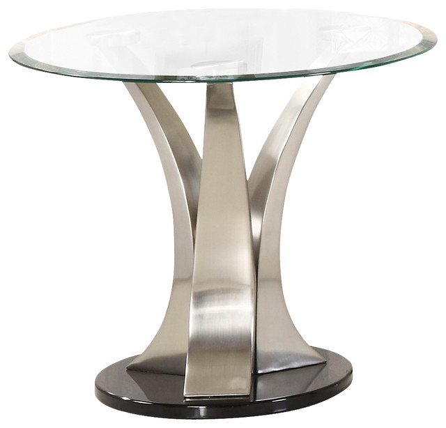 Homelegance Charlaine Round Glass End Table On Chrome Pillars Traditional Side Tables And By Beyond Stores Houzz