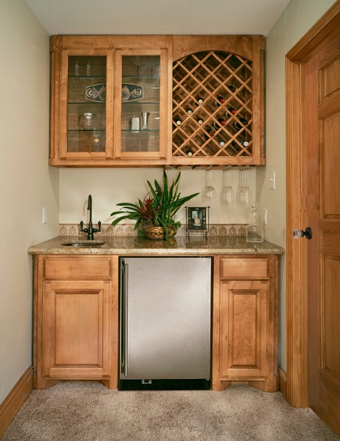 wetbar with wine rack and undercounter refrigerator