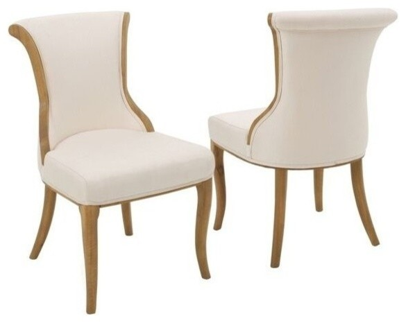 GDF Studio Luther French Style Dining Chair, Beige, Set Of 2