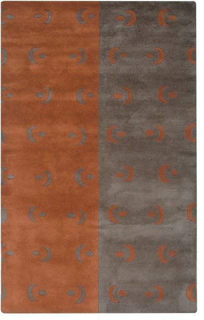 Anna Redmond Area Rug Rectangle Gray Orange