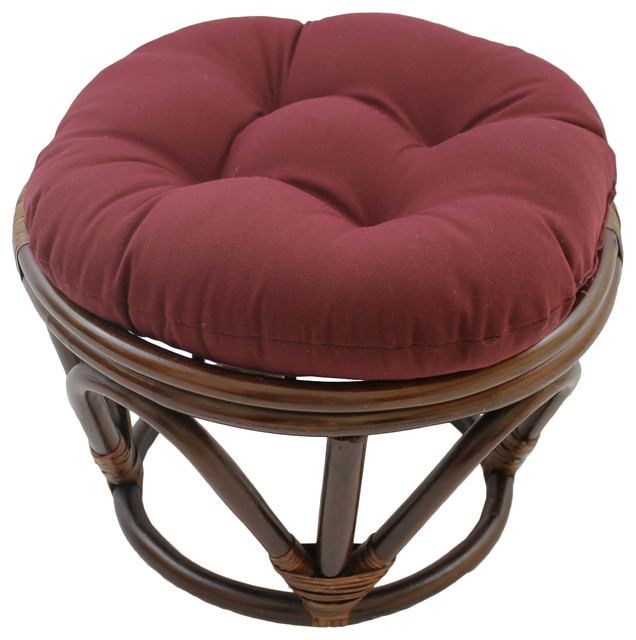 18 Quot Round Solid Twill Tufted Footstool Cushion
