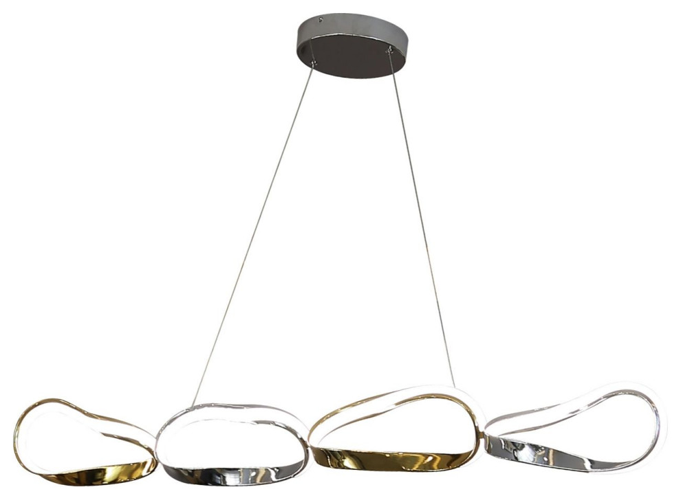 Finesse Decor Chrome Gold 4 Link Chandelier