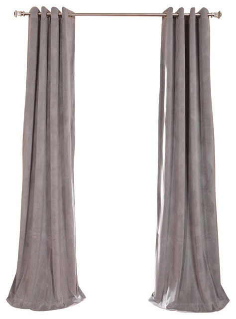 "Signature Silver Gray Grommet Blackout Velvet Curtain Single Panel, 50""x108""."